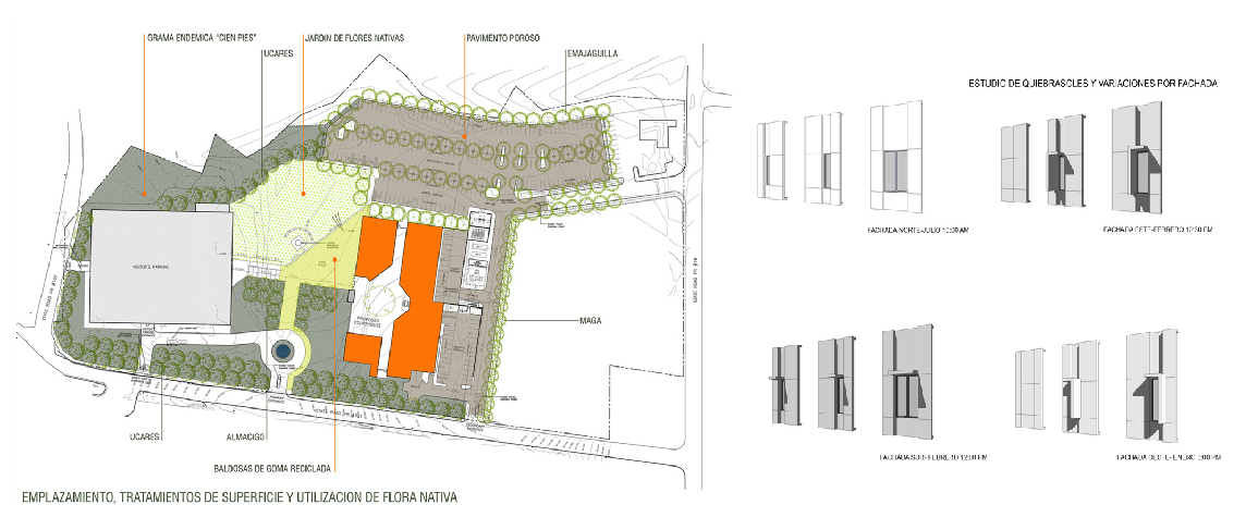 Aibonito Courthouse surface treatment, landscape plan, and modular facade study