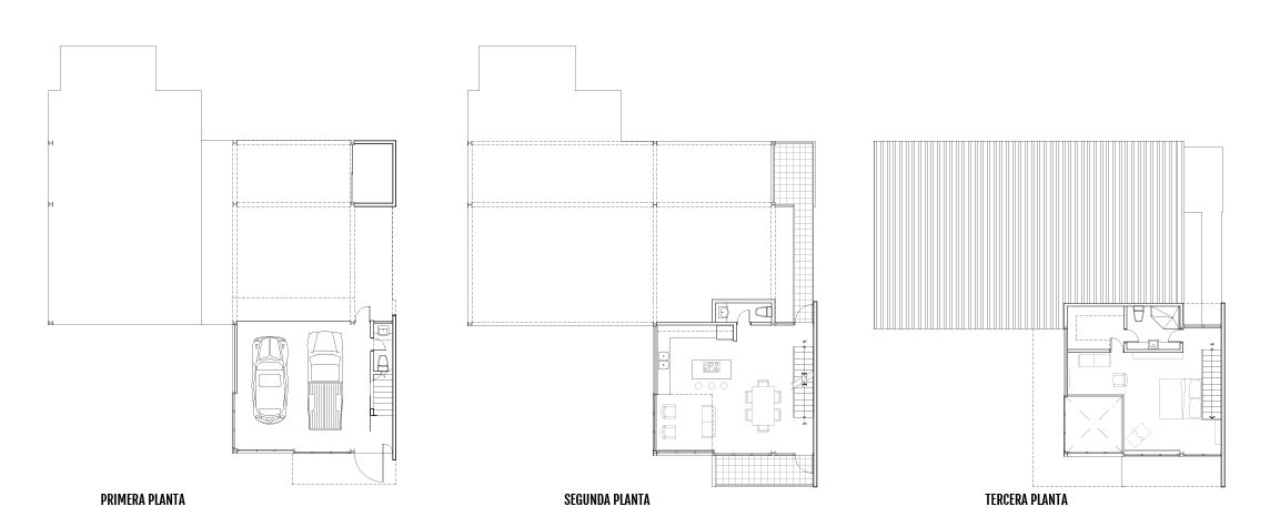 Carlos Guzman Studio first, second, and third floor plans