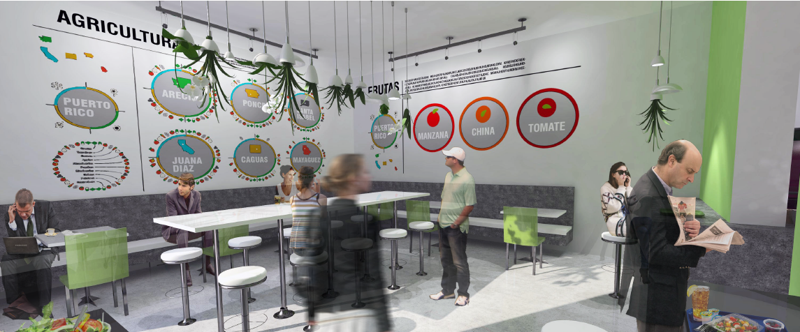Food Concession - Viveverde location, existing, and reflected ceiling plan