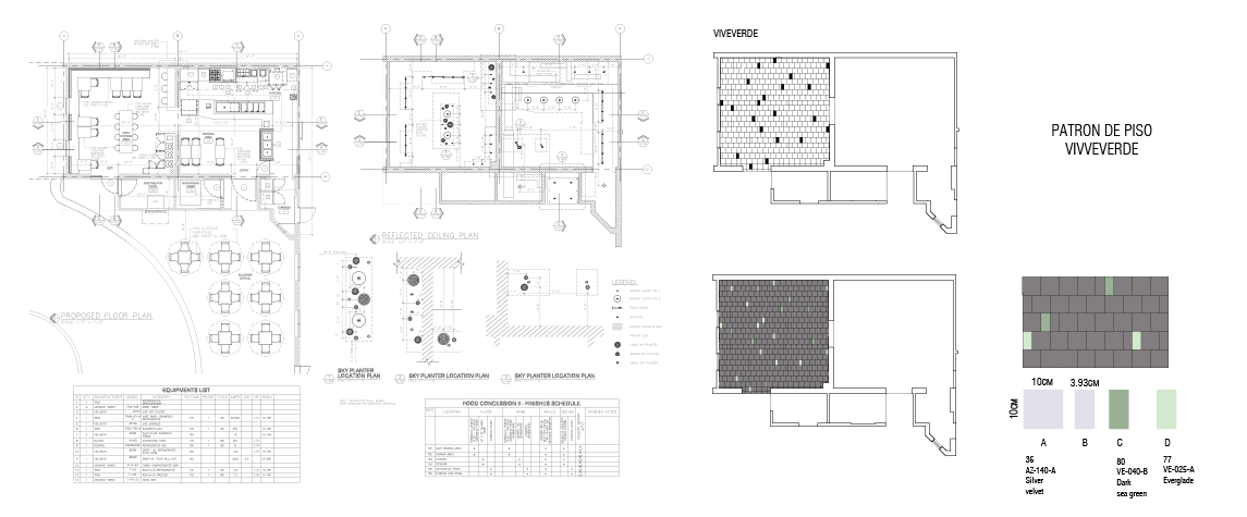 Food Concession - Viveverde proposed plan, reflective ceiling, and floor pattern
