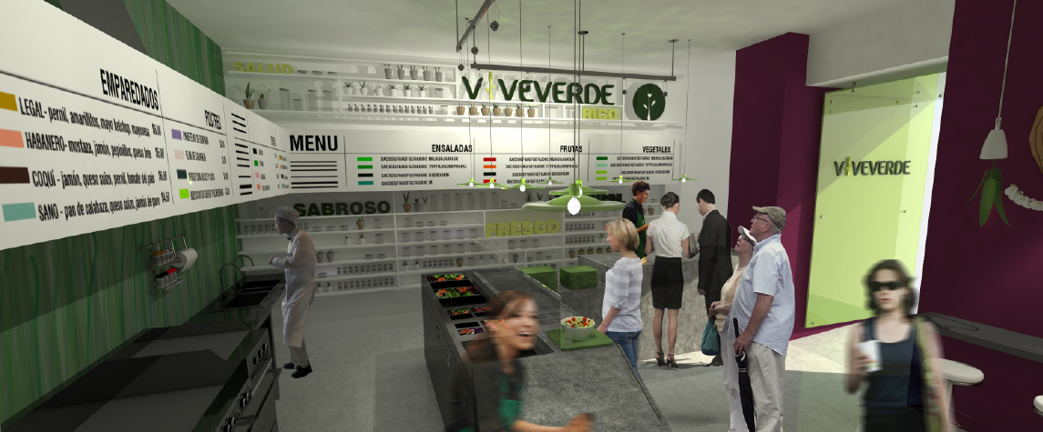 Food Concession - Viveverde service counter, menus, and entrance