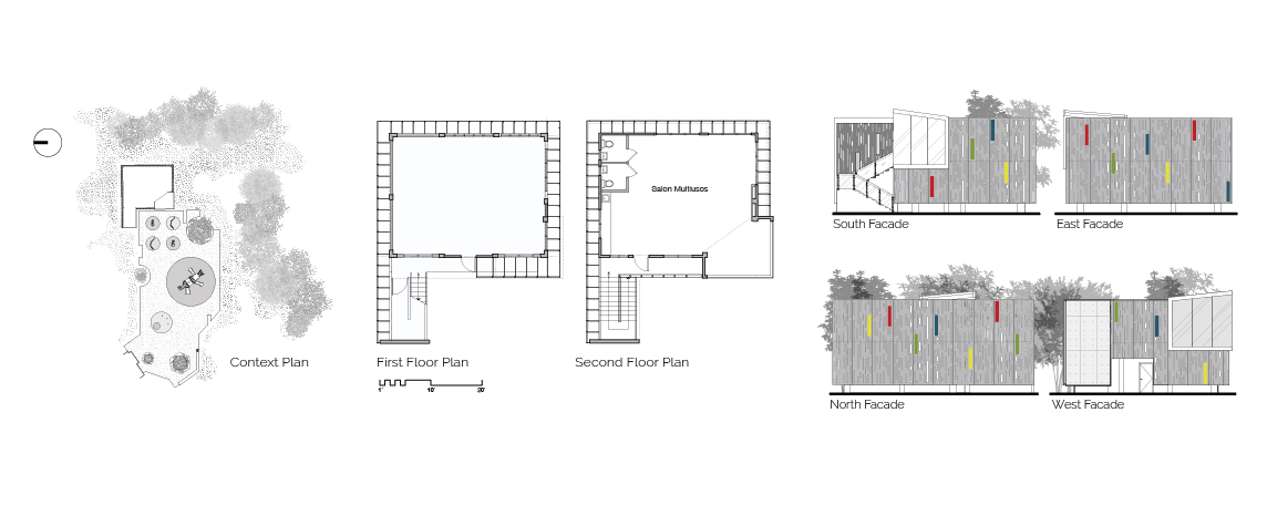 GELM Annex site plan, floor plans, and elevations