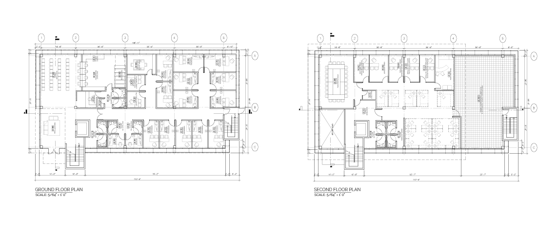 Gurabo Community Health Center ground and second floor plans