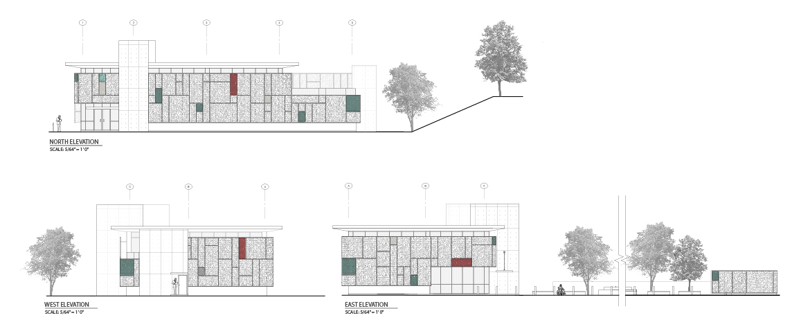 Gurabo Community Health Center north, west, and east elevations