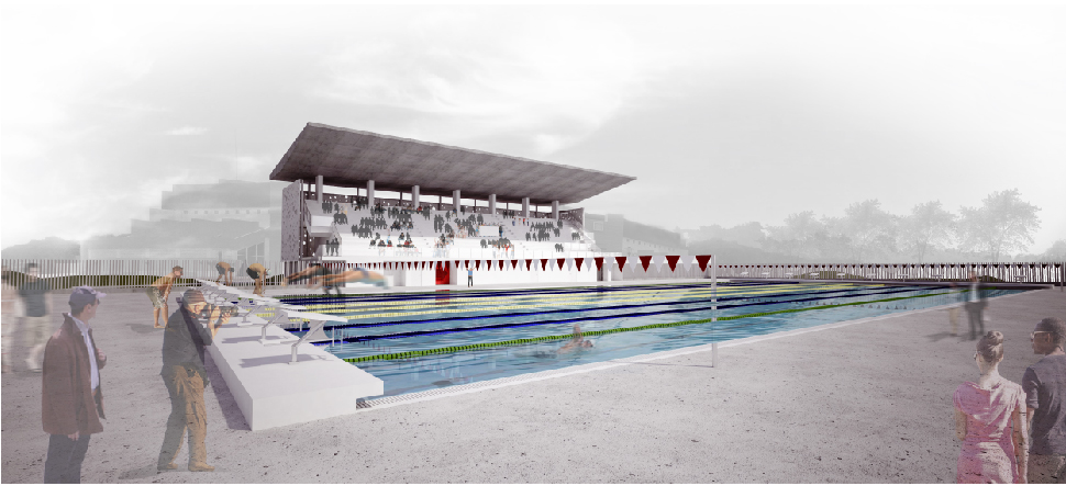 Humacao Aquatic Complex olympic pool view and stands