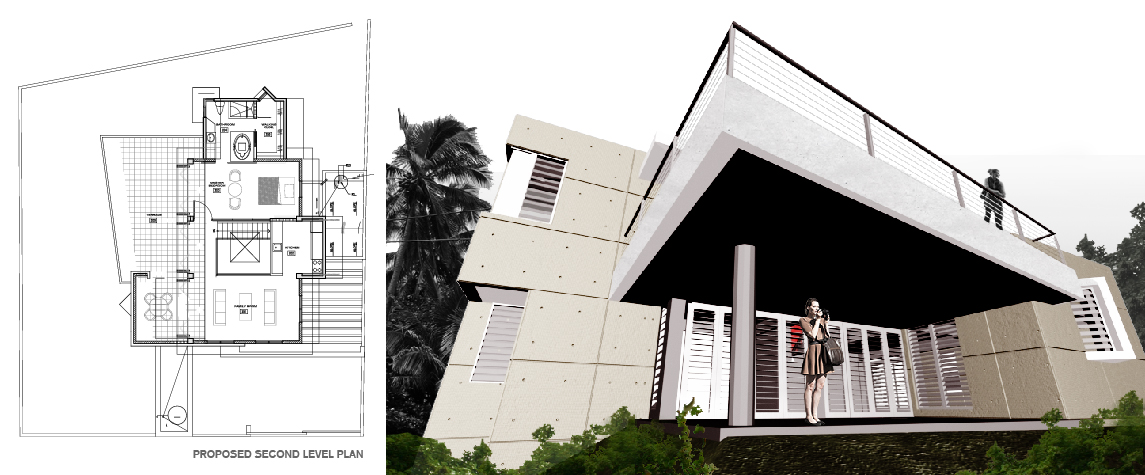 Medina Residence proposed second floor plan and view of house and overhanging terrace from patio