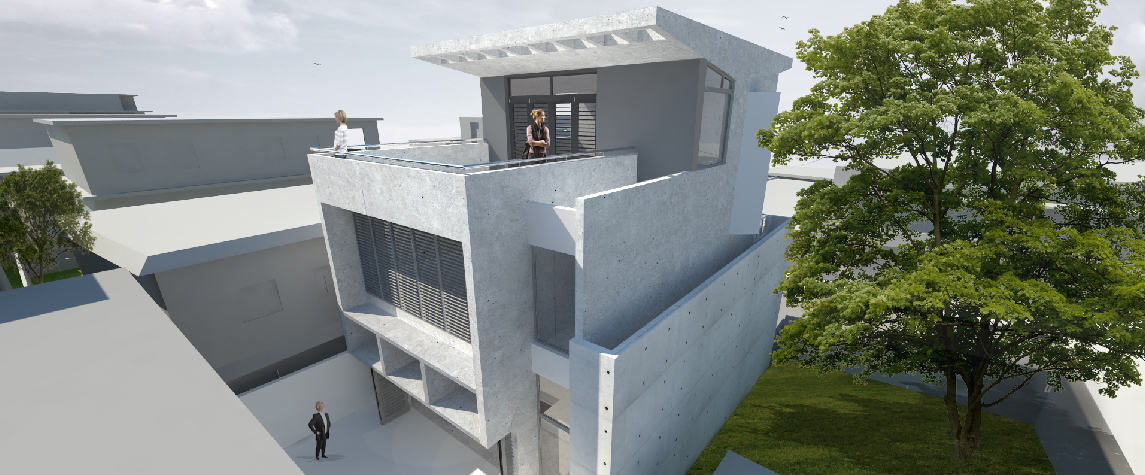Urban House terrace, roof, and facade perspective